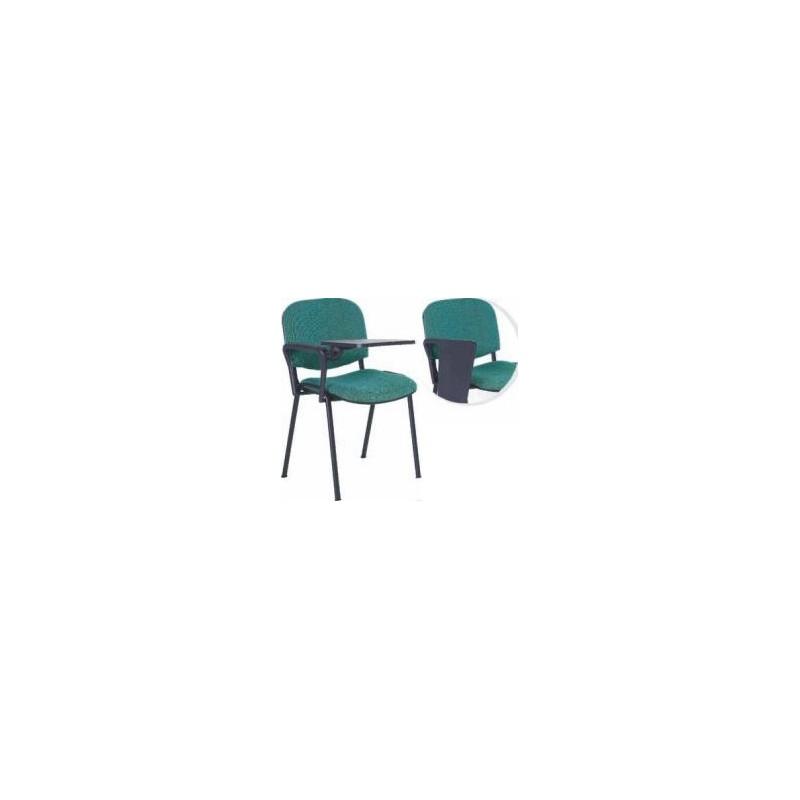 Krzesło ISO z pulpitem, tapicerowane, stelaż czarny, 1 podłokietnik