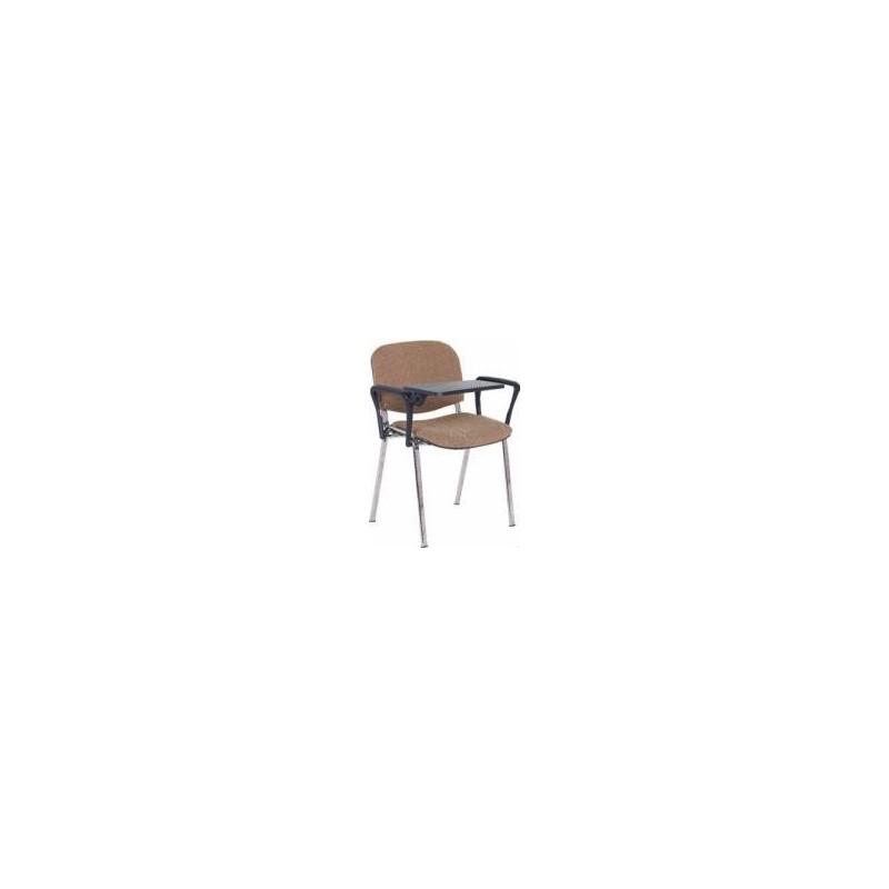 Krzesło ISO z pulpitem, tapicerowane, stelaż czarny, 2 podłokietniki