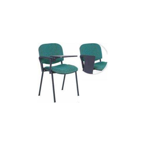 Krzesło ISO z pulpitem, tapicerowane, stelaż chrom,1 podłokietnik