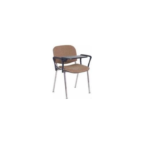 Krzesło ISO z pulpitem, stelaż chrom, dwa podłokietniki